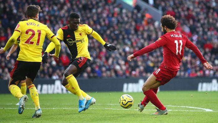 Liverpool unggul 1-0 atas Watford di babak pertama berkat gol Mohamed Salah (Foto: Clive Brunskill/Getty Images)