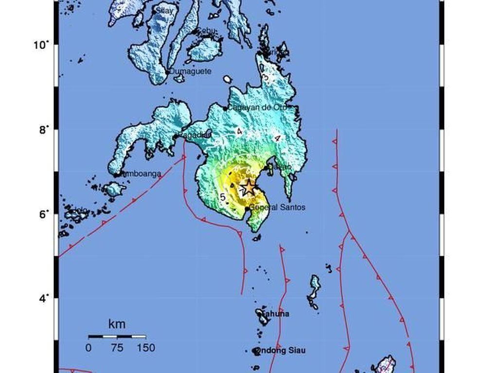 Guncang Sulut, Gempa M 6,9 Berpusat di Mindanao Filipina