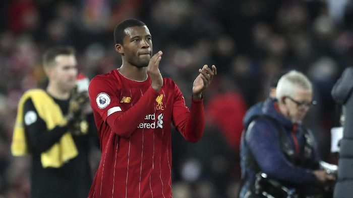 Liverpools Georginio Wijnaldum, is seen after the end of the English Premier League soccer match between Liverpool and Everton at Anfield Stadium, Liverpool, England, Wednesday, Dec. 4, 2019. Liverpool beat Everton 5-2. (AP Photo/Jon Super)