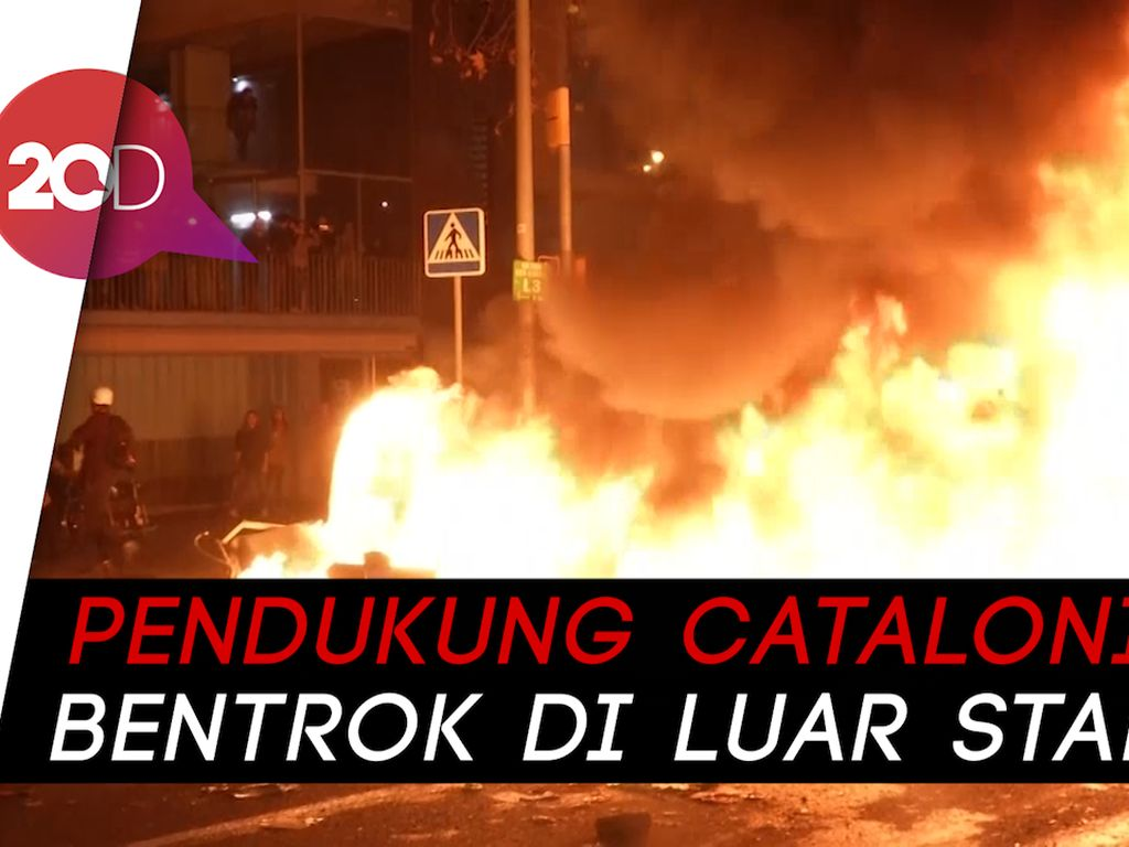 Rusuh Pedemo Catalonia di Laga Barcelona Vs Madrid
