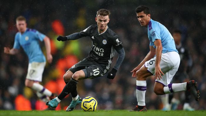 Leicester City takluk 1-3 di markas Manchester City. (Foto: Clive Brunskill/Getty Images)