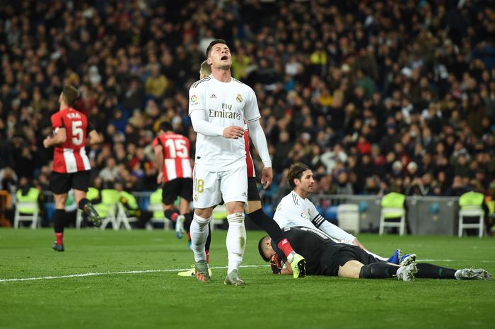 MADRID, SPAIN - DECEMBER 22: Luka Jovic of Real Madrid reacts during the Liga match between Real Madrid CF and Athletic Club at Estadio Santiago Bernabeu on December 22, 2019 in Madrid, Spain. (Photo by Denis Doyle/Getty Images)