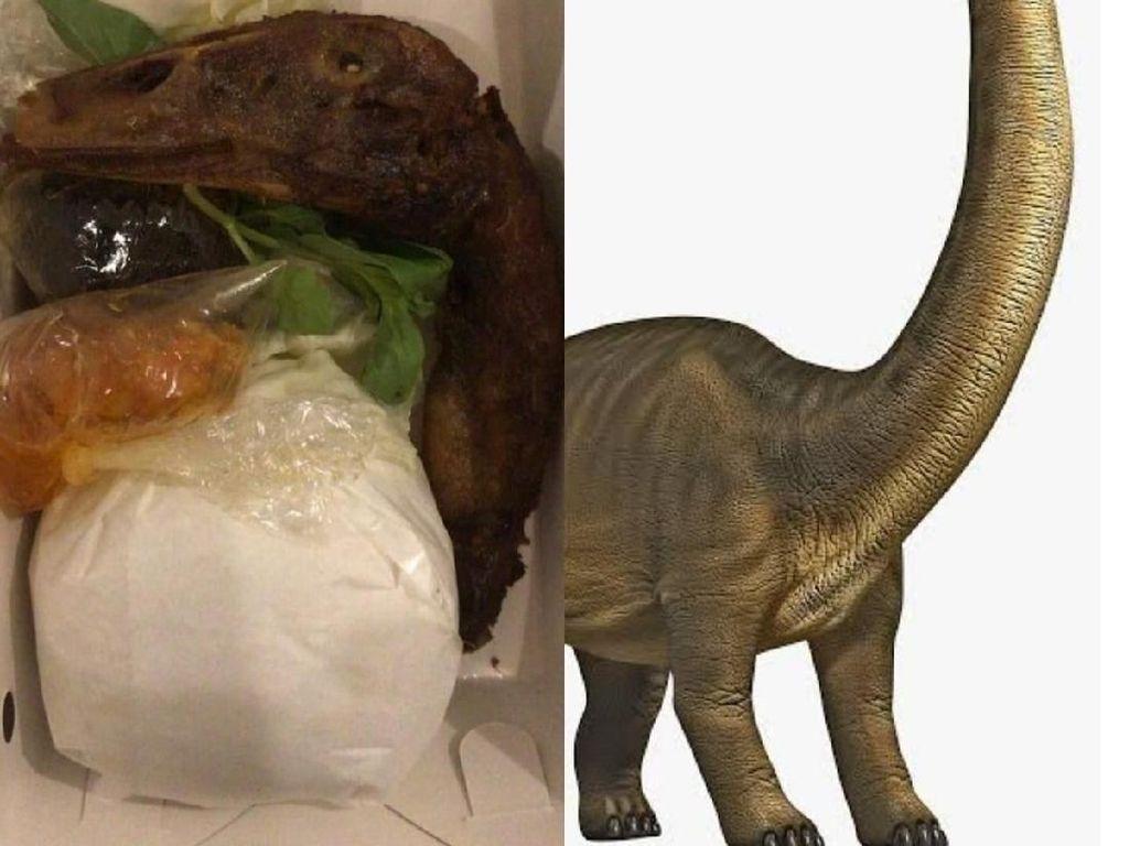 Seporsi Menu Kepala Dinosaurus Goreng Ini Bikin Nggak Nafsu Makan