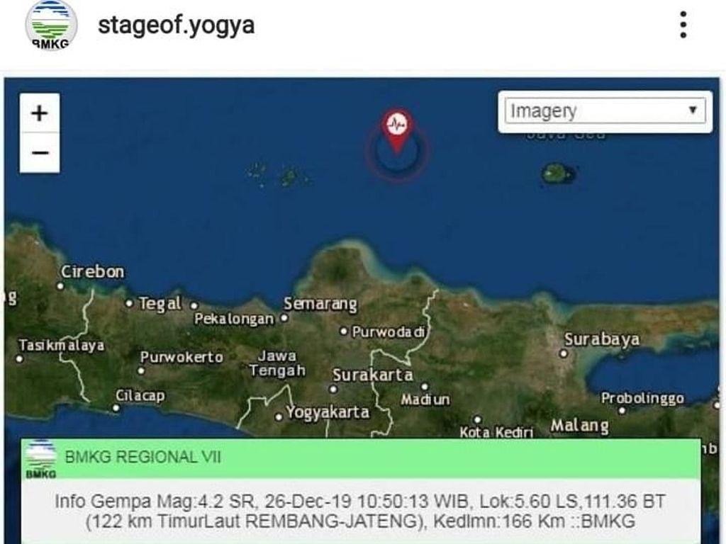 Gempa M 4,2 Terjadi di Perairan Rembang