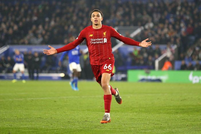 LEICESTER, ENGLAND - DECEMBER 26: Trent Alexander-Arnold of Liverpool celebrates scoring his teams fourth goal during the Premier League match between Leicester City and Liverpool FC at The King Power Stadium on December 26, 2019 in Leicester, United Kingdom. (Photo by Alex Pantling/Getty Images)