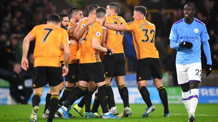 Wolverhampton Wanderers kalahkan Manchester City 3-2 di tabrak boxing day Liga Inggris. (Foto: Clive Mason/Getty Images)
