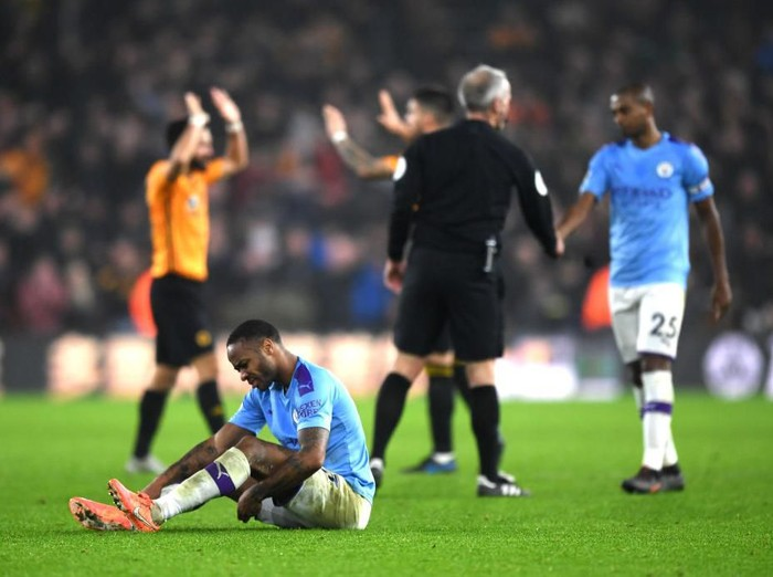WOLVERHAMPTON, ENGLAND - DECEMBER 27: Raheem Sterling of Manchester CIty reacts at full-time during the Premier League match between Wolverhampton Wanderers and Manchester City at Molineux on December 27, 2019 in Wolverhampton, United Kingdom. (Photo by Shaun Botterill/Getty Images)