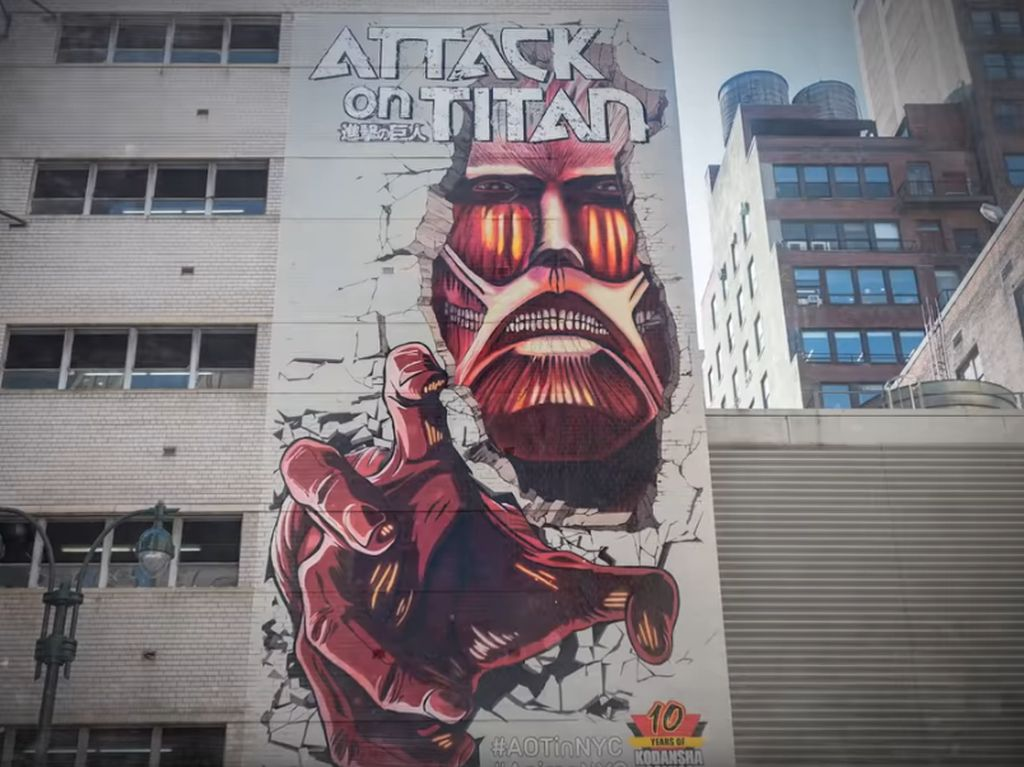 Mural Raksasa Attack on Titan Bertengger di New York