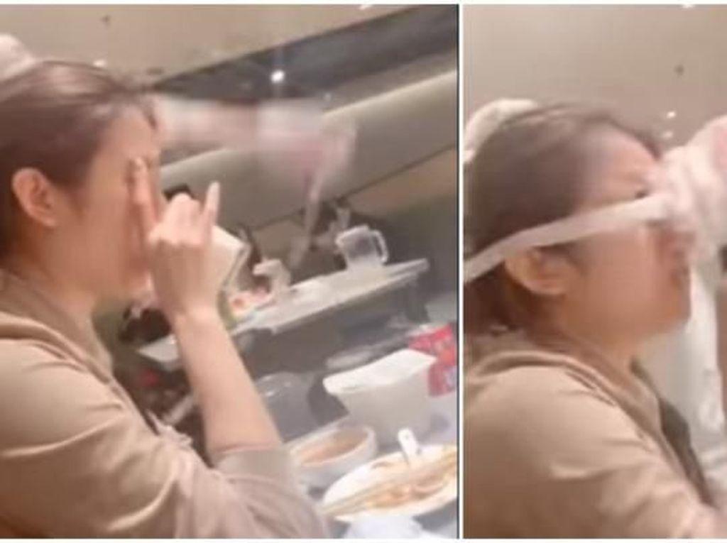 Duh! Wanita Ini Kena Tamparan Mi Saat Pegawai di Resto Beraksi