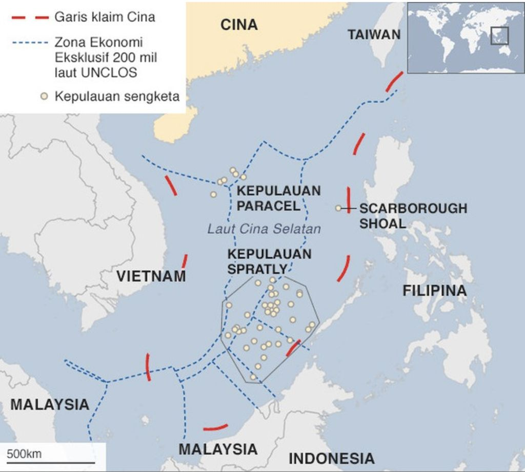 Laut China Selatan. (Foto: BBC/UNCLOS/CIA)