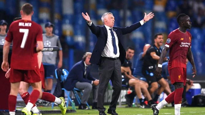 NAPLES, ITALY - SEPTEMBER 17:  Carlo Ancelotti head coach of Napoli reactsduring the UEFA Champions League group E match between SSC Napoli and Liverpool FC at Stadio San Paolo on September 17, 2019 in Naples, Italy. (Photo by Laurence Griffiths/Getty Images)