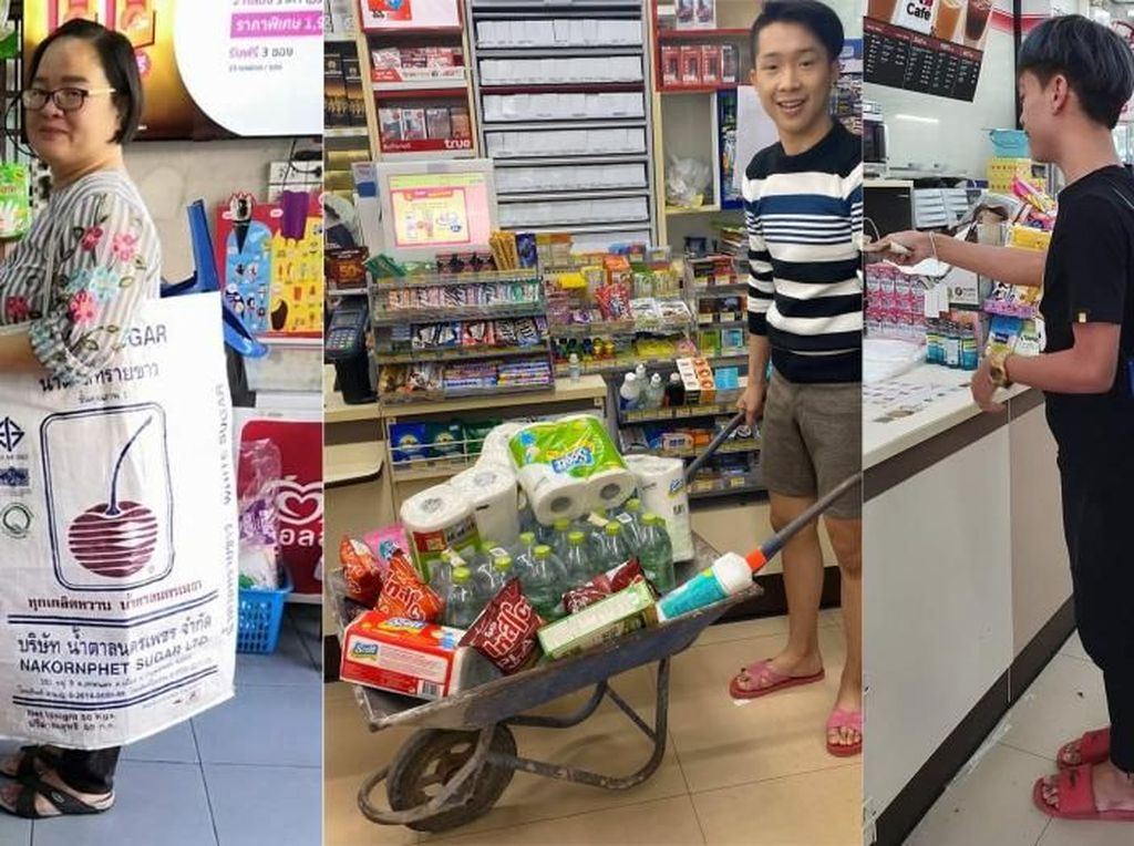 Tak Boleh Pakai Plastik, Orang Thailand Belanja Pakai Karung Gula hingga Panci
