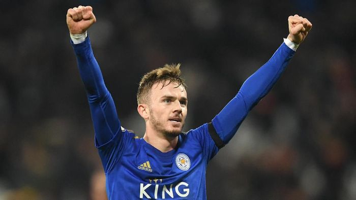 LONDON, ENGLAND - DECEMBER 28: James Maddison of Leicester City celebrates following the Premier League match between West Ham United and Leicester City at London Stadium on December 28, 2019 in London, United Kingdom. (Photo by Michael Regan/Getty Images)
