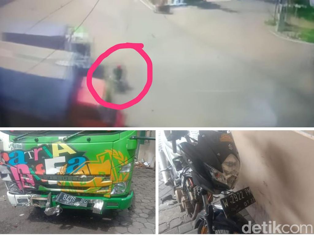 Video Detik-detik Biker Tertabrak Truk Nekat Terobos Traffic Light Viral