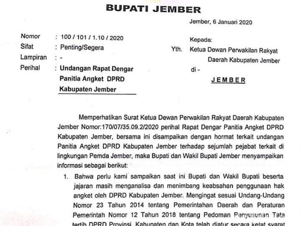 Bupati Faida Kirim Surat ke DPRD Jember Telaah Keabsahan Panitia Angket