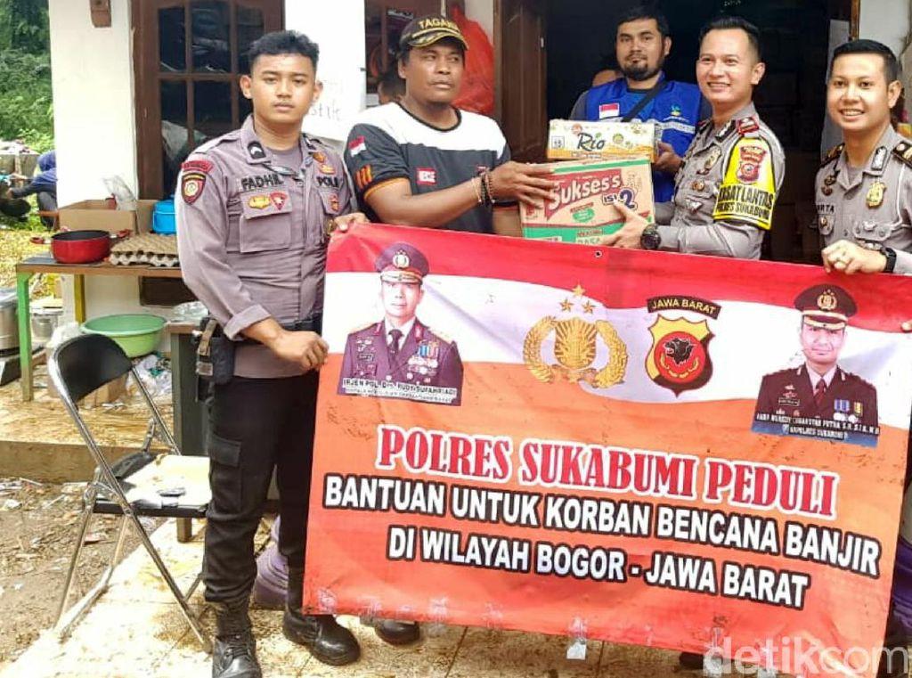 Polres Sukabumi Serahkan Bantuan untuk Korban Bencana di Bogor