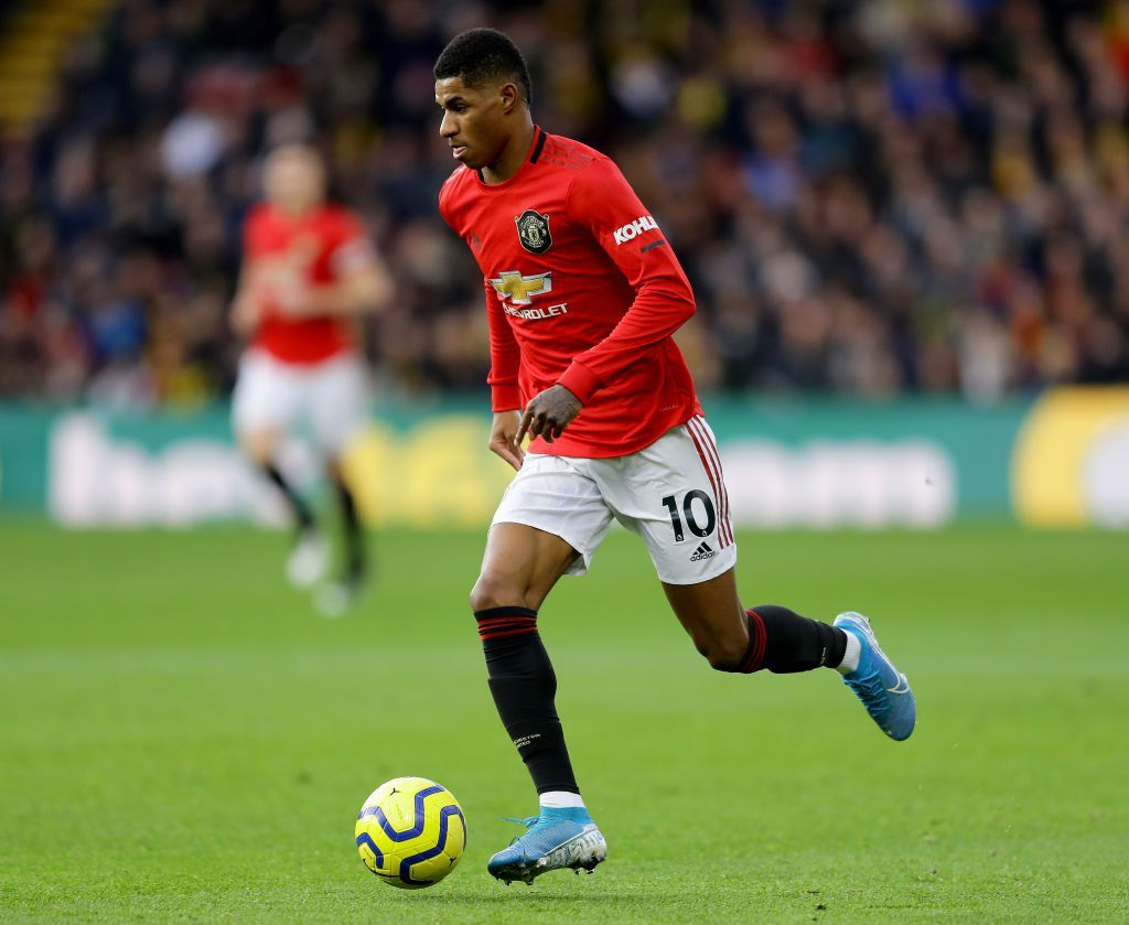 WATFORD, ENGLAND - DECEMBER 22: Marcus Rashford of Manchester United in action during the Premier League match between Watford FC and Manchester United at Vicarage Road on December 22, 2019 in Watford, United Kingdom. (Photo by Richard Heathcote/Getty Images)