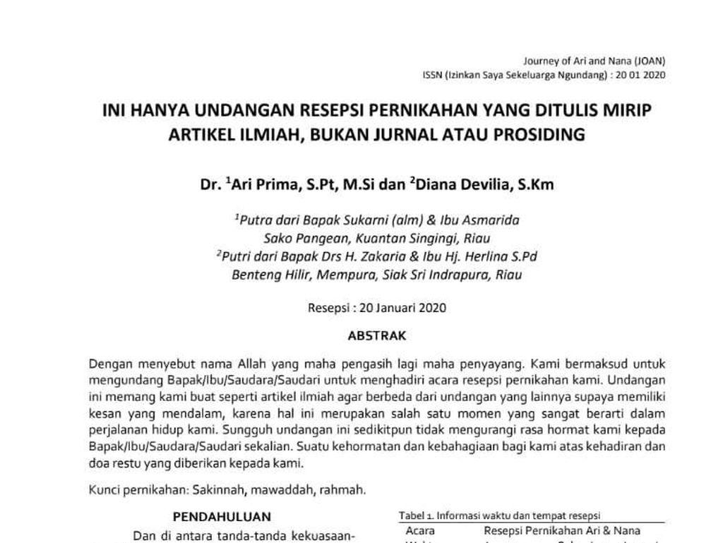 Nyentrik! Undangan Pernikahan di Riau Ini Bagai Artikel Ilmiah