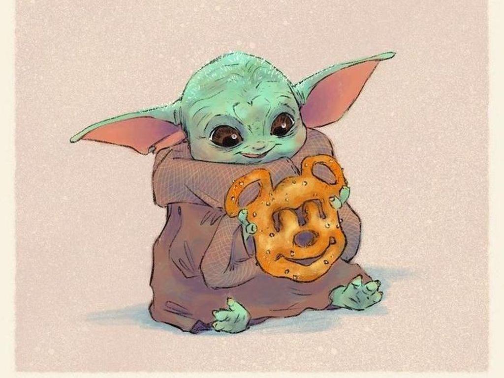 Gemes Banget! Baby Yoda Digambarkan Makan Pizza hingga Es Krim