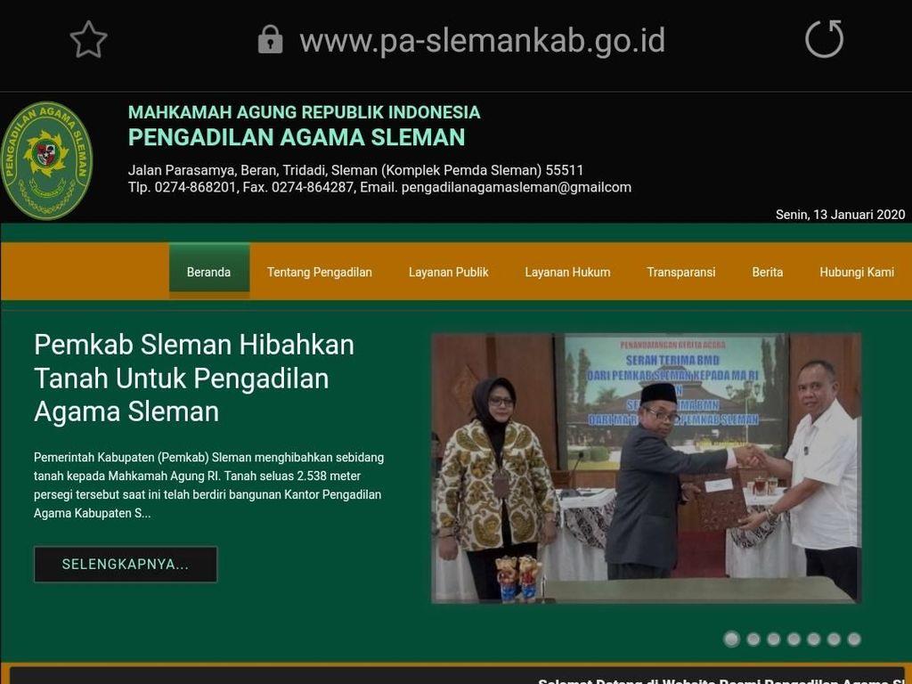 Setelah 17 Jam Dihack, Website Pengadilan Agama Sleman Kembali Normal
