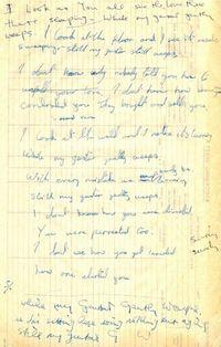Kertas lirik lagu The Beatles