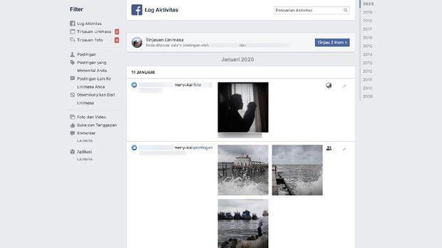 Aktivitas Facebook bisa dipantau melalui log aktivitas.