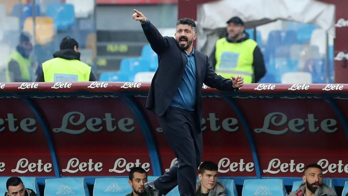 NAPLES, ITALY - JANUARY 14: Gennaro Gattuso SSC Napoli coach gestures during the Coppa Italia match between SSC Napoli and Perugia on January 14, 2020 in Naples, Italy. (Photo by Francesco Pecoraro/Getty Images)