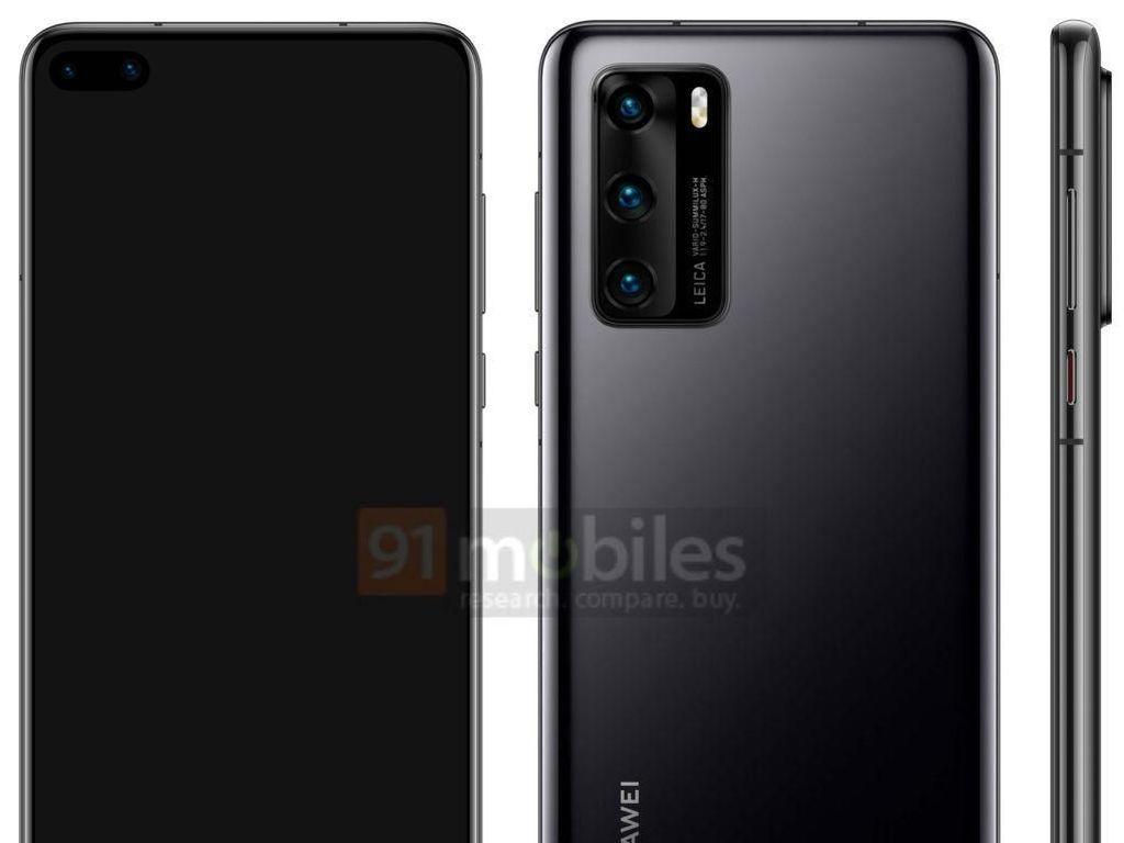 Wujud Huawei P40 Terungkap, Gunakan Layar Punch Hole