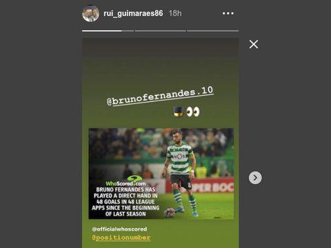 Instagram story Rui Guimaraes, agen dari Bruno Fernandes. (Sumber: Instagram)