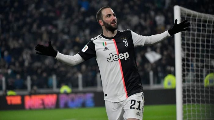 TURIN, ITALY - JANUARY 15: Gonzalo Higuaín of Juventus FC celebrate a goal during the Coppa Italia match between Juventus and Udinese Calcio at Allianz Stadium on January 15, 2020 in Turin, Italy. (Photo by Stefano Guidi/Getty Images)