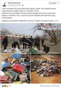 Cek Kebenaran Foto Viral soal Al Qur'an Dibakar di Xinjiang