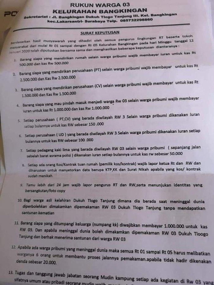Surat edaran RW yang viral/Foto: Istimewa