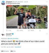 Tangkapan layar komentar akun MotoGP soal videp balapan kocak. (