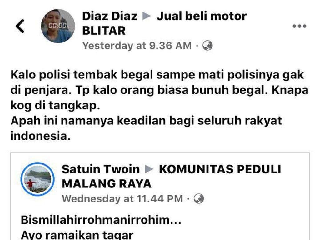 Viral Netizen Hina Polisi soal Penanganan Kasus Pelajar Bunuh Begal