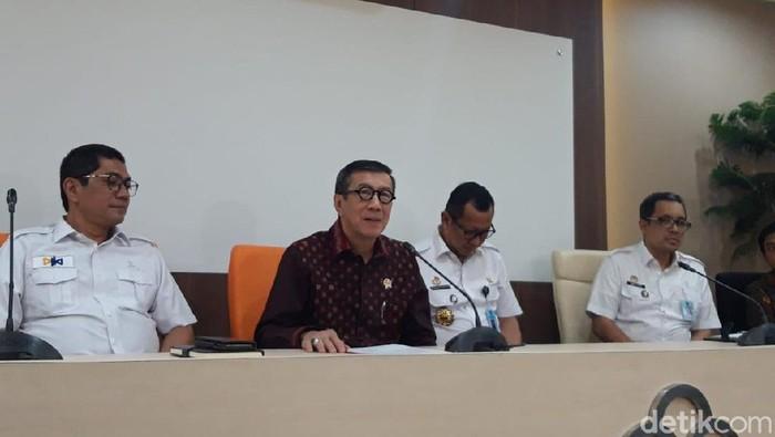 Menkum HAM Yasonna Laoly menjelaskan pernyataan soal Tanjung Priok. (Rahel/detikcom)