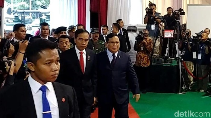 Foto: Jokowi dan Prabowo di Rapim Kemhan 2020 (Jefrie Nandy Satria/detikcom)