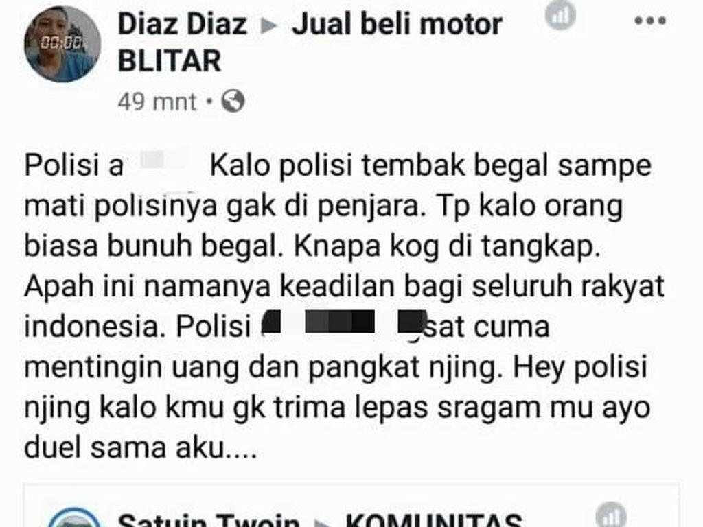 Netizen Penghina Polisi di  Medsos Terkait Pelajar Bunuh Begal Diamankan
