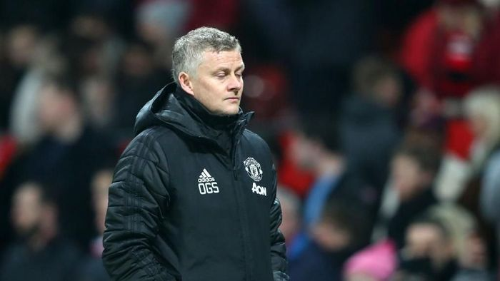 MANCHESTER, ENGLAND - JANUARY 22: Manchester United Manager, Ole Gunnar Solskjaer walks off after defeat in  the Premier League match between Manchester United and Burnley FC at Old Trafford on January 22, 2020 in Manchester, United Kingdom. (Photo by Alex Livesey/Getty Images)