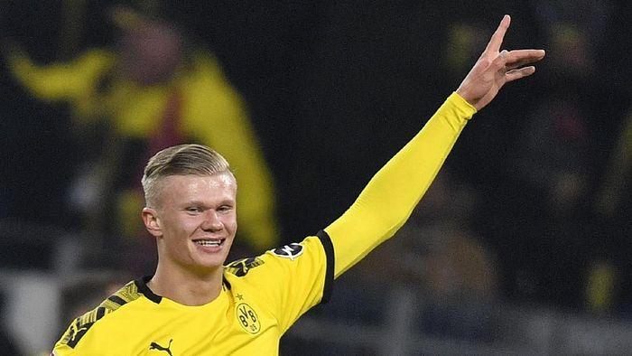 Striker Borussia Dortmund, Erling Braut Haaland, mencetak dua gol ke gawang FC Cologne. (Foto: Martin Meissner/AP Photo)