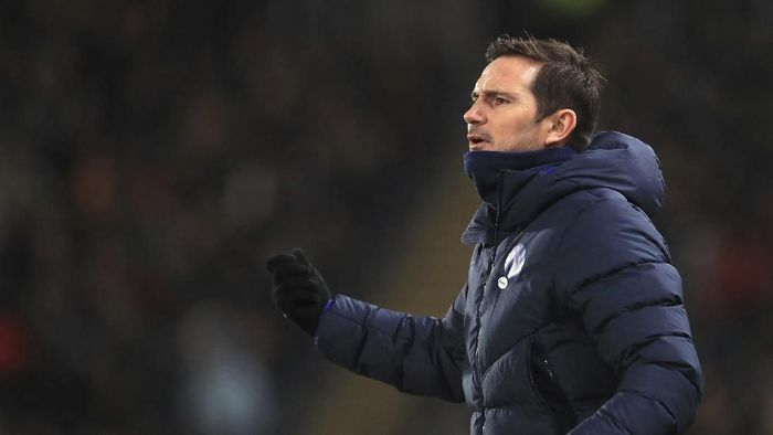 Chelsea manager Frank Lampard during the game against Hull City, during their English FA Cup fourth round soccer match at the KCOM Stadium in Hull, England, Saturday Jan. 25, 2020. (Mike Egerton/PA via AP)