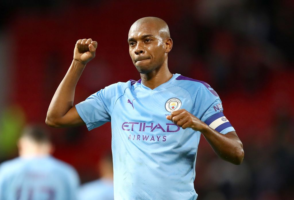 MANCHESTER, ENGLAND - JANUARY 07: Fernandinho of Manchester City celebrates victory after the Carabao Cup Semi Final match between Manchester United and Manchester City at Old Trafford on January 07, 2020 in Manchester, England. (Photo by Michael Steele/Getty Images)