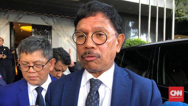 Menteri Komunikasi dan Informatika Johnny G Plate saat ditemui di Kantor DPP Partai Nasdem Jakarta