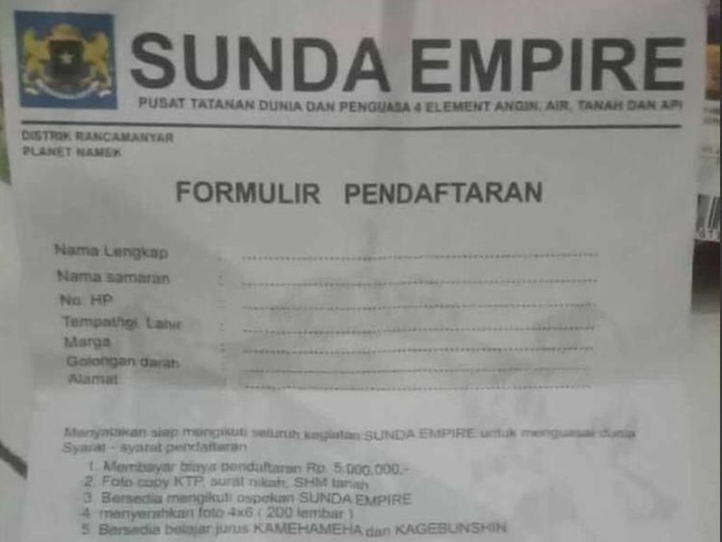Heboh Pendaftaran Sunda Empire dari Biaya Rp 5 Juta-Belajar Kamehameha