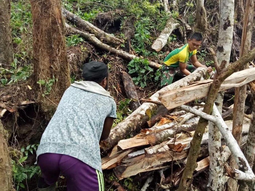 Satgas Yonif 755 Kostrad Bantu Buka Lahan Pertanian di Papua