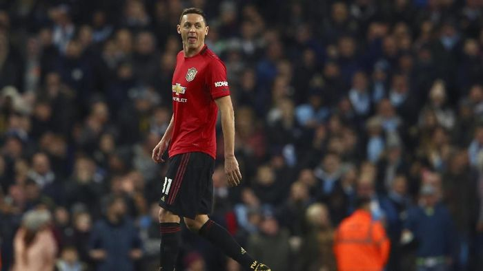 Manchester Uniteds Nemanja Matic leaves the field after being shown a second yellow card during the English League Cup semifinal second leg soccer match between Manchester City and Manchester United at Etihad stadium in Manchester, England, Wednesday, Jan. 29, 2020. (AP Photo/Dave Thompson)