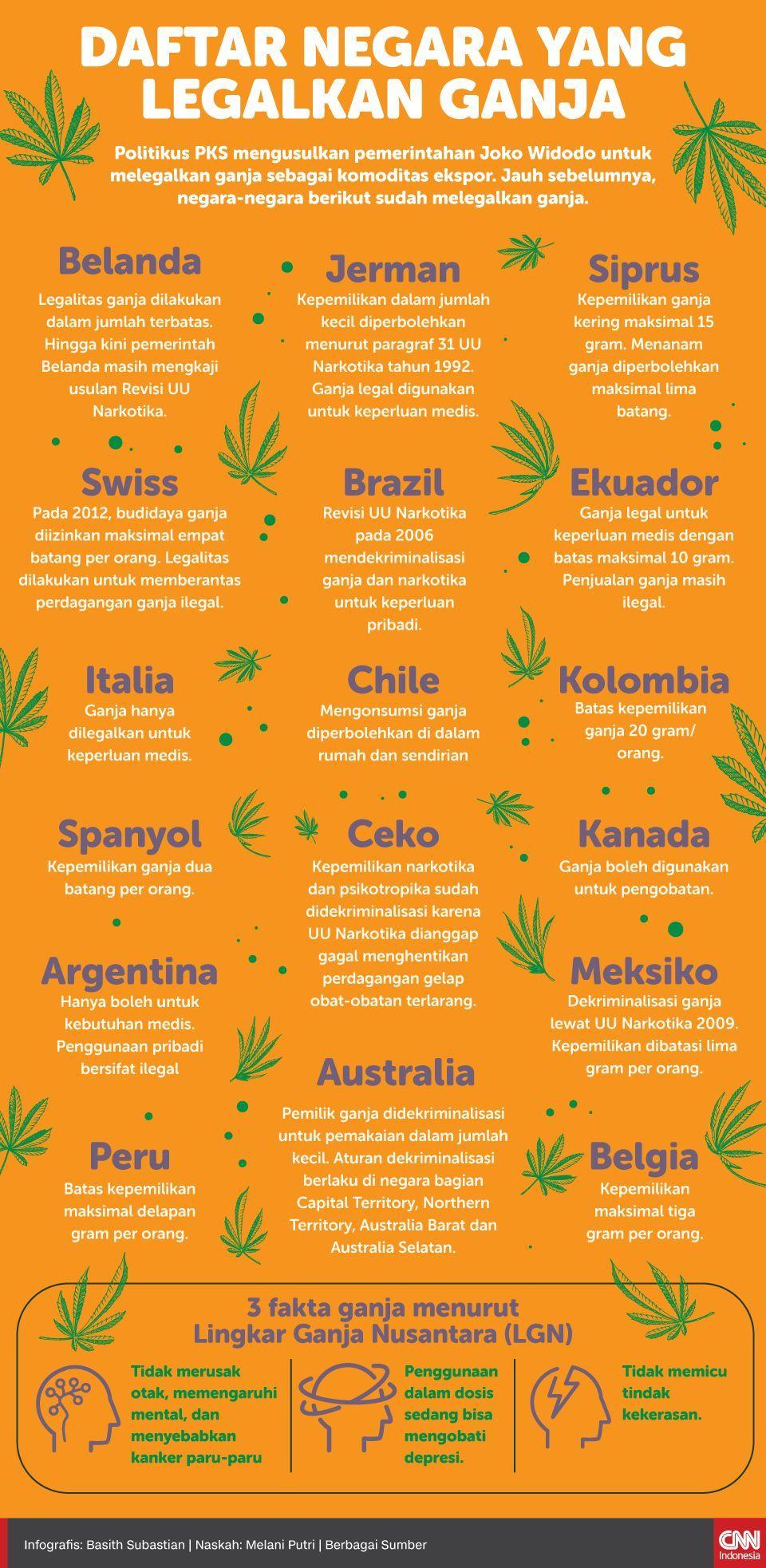 Infografis Daftar Negara yang legalkan Ganja