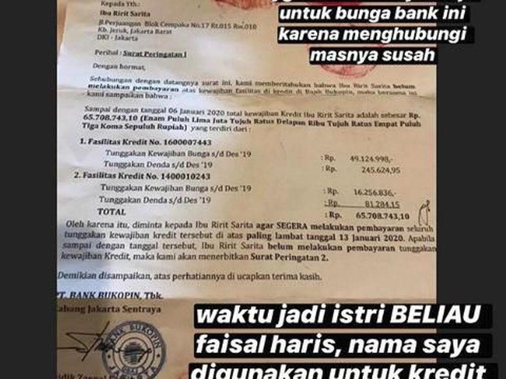 Tanggung Bunga Bank Rp 77 Juta, Sarita: Makasih Haris, Semoga Tenang di Surga