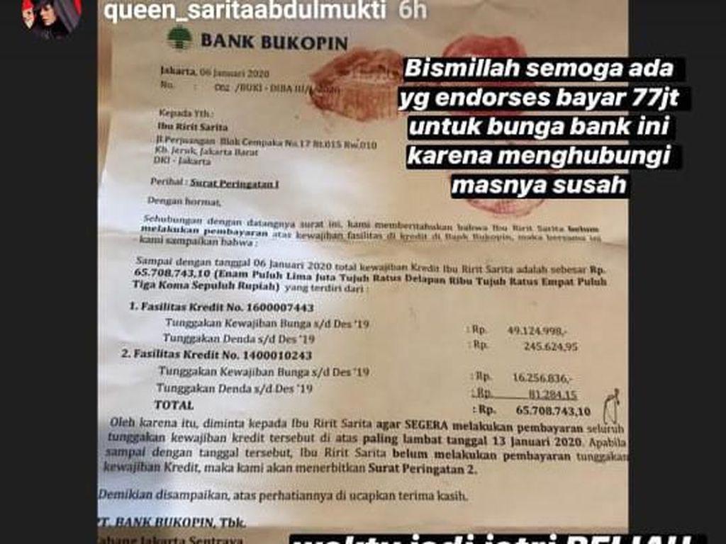 Tanggung Bunga Bank Rp 77 Juta dari Mantan Suami, Sarita Berharap Diendorse