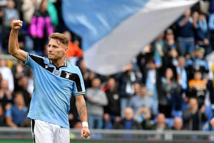 ROME, ITALY - FEBRUARY 02: Ciro Immobile of SS Lazio celebrates a third goal during the Serie A match between SS Lazio and SPAL at Stadio Olimpico on February 02, 2020 in Rome, Italy. (Photo by Marco Rosi/Getty Images)