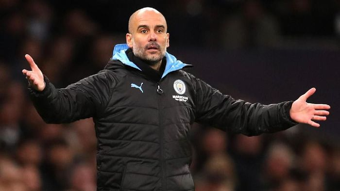 LONDON, ENGLAND - FEBRUARY 02: Pep Guardiola, Manager of Manchester City reatcs during the Premier League match between Tottenham Hotspur and Manchester City at Tottenham Hotspur Stadium on February 02, 2020 in London, United Kingdom. (Photo by Catherine Ivill/Getty Images)